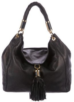 Michael Kors Tassel Leather Hobo - BLACK - STYLE