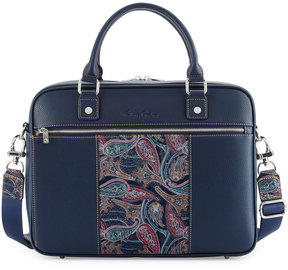 Robert Graham Vatican Paisley Leather Briefcase, Navy