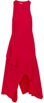 Antonio Berardi Asymmetric Open-back Crepe De Chine Midi Dress - Red
