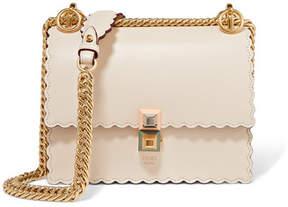 Fendi Kan I Mini Scalloped Leather Shoulder Bag - Ivory