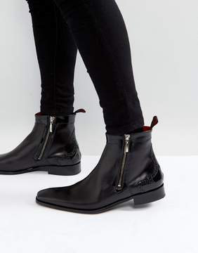 Jeffery West Scarface Brogue Zip Boots In Black Leather