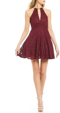 B. Darlin Glitter Lace Necklace Fit-and-Flare Dress