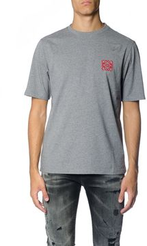 Loewe Grey Cotton T-shirt With Anagram Logo