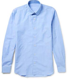 Caruso Slim-Fit Penny-Collar Slub Cotton And Linen-Blend Shirt