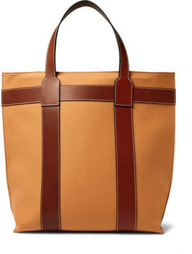 Loewe Leather-Trimmed Canvas Tote Bag