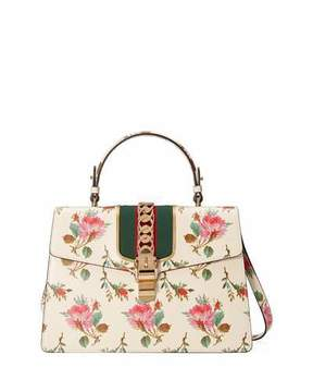 Gucci Sylvie Medium Floral Leather Top-Handle Satchel Bag - WHITE PATTERN - STYLE