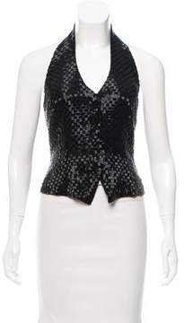 Carmen Marc Valvo Silk Sequin Top