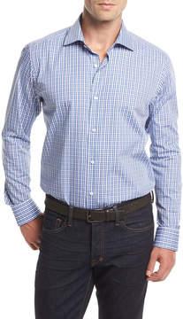 Neiman Marcus Small Check Long-Sleeve Sport Shirt, White/Blue