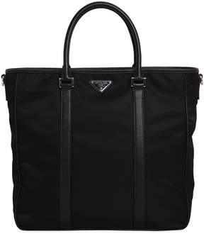 Prada Nylon Tote Bag With Leather Details