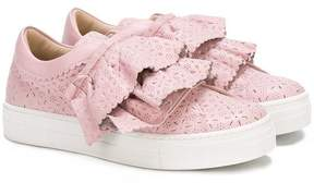 Ermanno Scervino perforated ruffle sneakers