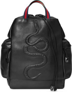 Snake embossed drawstring backpack