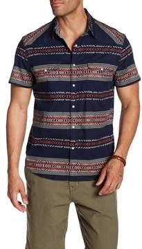 Lucky Brand Geo Striped Short Sleeve Regular Fit Shirt