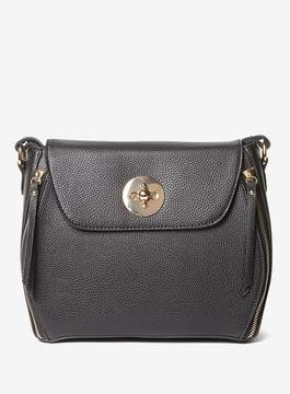 Dorothy Perkins Black Double Zip Crossbody Bag