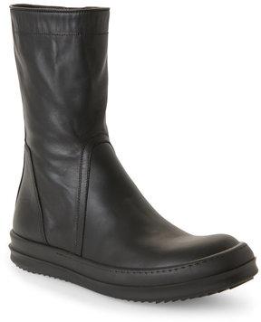 Rick Owens Black Leather Zip Flat Boots