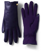 Lands' End Women's Stretch Leather EZ Touch Gloves-Blackberry Shadow