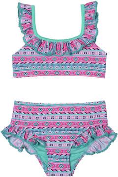 Hula Star Pink & Teal Geometric Ruffle-Accent Bikini - Toddler & Girls