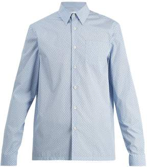 Prada Single-cuff micro-clover print cotton shirt