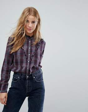 Esprit Check And Frill Detail Woven Shirt