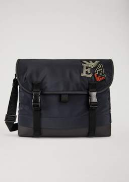 Emporio Armani Technical Fabric Messenger Bag With Patches