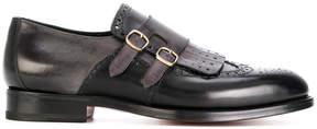 Santoni fringed and punch hole detailed monk shoes