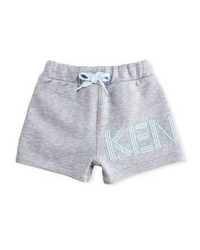 Kenzo Cotton Drawstring Shorts w/ Logo Detail, Gray, Size 2-3