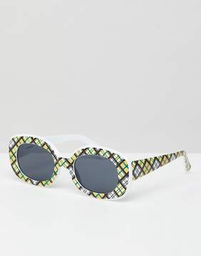 Asos DESIGN Check Print 90S Square Sunglasses