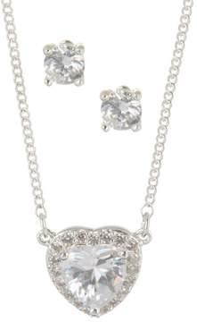Nine West CZ Heart Silver Tone Necklace Set One Size Silver tone/clear