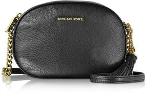 Michael Kors Ginny Black Pebble Leather Medium Messenger - BLACK - STYLE