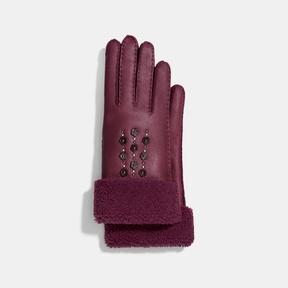 Coach Tea Rose Embellished Gloves