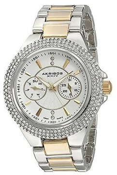 Akribos XXIV Silver Dial Two Tone Alloy Ladies Watch