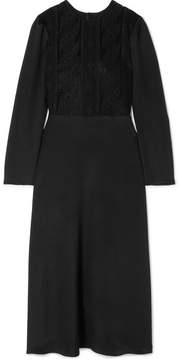 Valentino Corded Cotton-blend Lace And Silk Midi Dress - Black