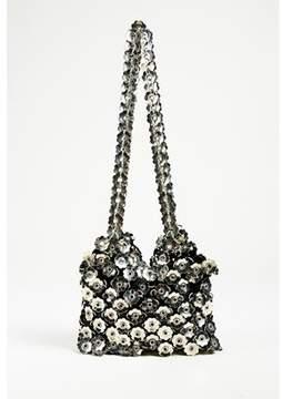 Paco Rabanne Pre-owned Vintage Silver Tone & Black Metal & Satin Floral Shoulder Bag.