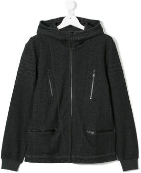 Antony Morato ribbed detail zipped hoodie