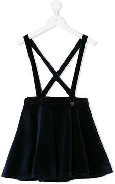 Lanvin Enfant velvet flared skirt with braces