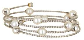 Charriol 18K Yellow Gold & White Stainless Steel 6.3mm Freshwater Pearl Station Coil Wrap Bracelet