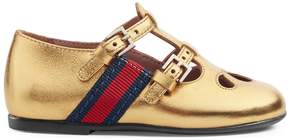 Gucci Toddler metallic leather shoe with Web