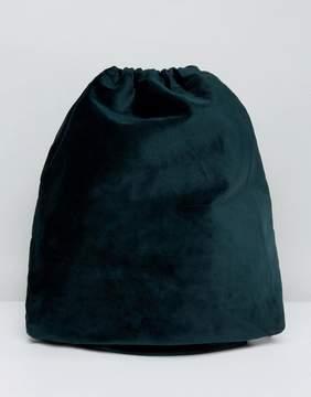 Asos Drawstring Backpack In Green Velvet
