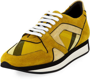 Burberry Mixed Lace-Up Platform Sneaker