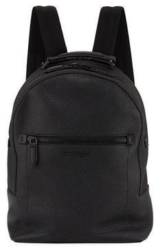 Salvatore Ferragamo Black On Black Leather Backpack