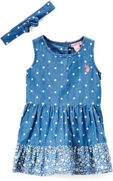 U.S. Polo Assn. Medium Wash Denim Ditsy & Dot Tiered Sleeveless Dress & Headband - Infant