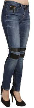 Dex Super Skinny Coinzip Jeans With Knee Inserts In New Wave.