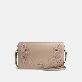 COACH FOLDOVER CROSSBODY CLUTCH IN GLOVETANNED LEATHER WITH TEA ROSE TOOLING - LIGHT ANTIQUE NICKEL/STONE MULTI
