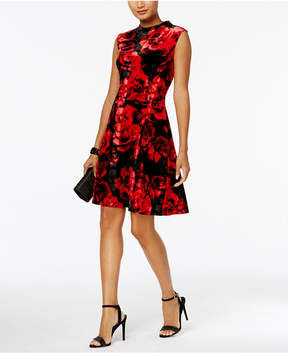 Connected Printed Velvet A-Line Dress