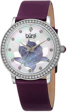 Burgi Womens Purple and Silver Tone Crystal Accent Strap Watch