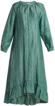 Masscob Ruffled-hem linen-blend dress