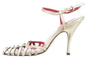 Cesare Paciotti Metallic Cutout Sandals