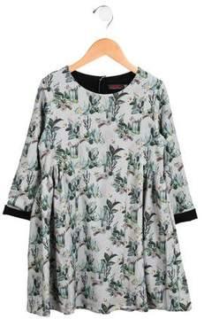 Catimini Girls' Long Sleeve Floral Print Dress