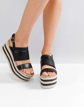 Glamorous Black Stacked Espadrille Flatform Sandals