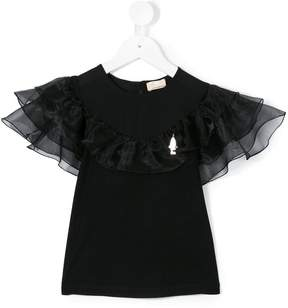Elisabetta Franchi La Mia Bambina ruffled shortsleeved blouse