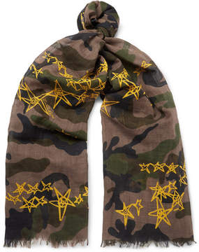 Valentino Fringed Printed Cotton And Linen-Blend Voile Scarf